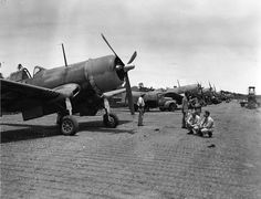 F4U-1 Corsairs of Marine Fighting Squadron (VMF) 124 pictured on Guadalcanal on April 14, 1943, seventy-years ago today.