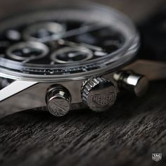 """Modeled almostexactly afterthe original Carrera of the 1960's, this Heuer Carrera re-edition features a """"Heuer"""" stamped crown. #DontCrackUnderPressure #swissmade #watches #reloj"""