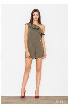 CombiShort sans manche une épaule nue Femme Model M477 Vert Figl 60175
