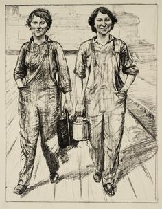 Archibald Standish Hartrick 'Women's Work: On the Railway - Engine and Carriage Cleaners', c.1917