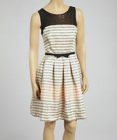 Another great find on #zulily! Blush & Black Stripe Sleeveless Dress - Women by Taylor Dress #zulilyfinds