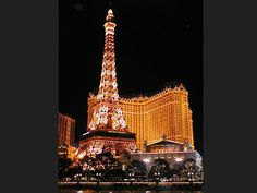 Eiffel Tower replica and hotel tower at Paris Las Vegas.
