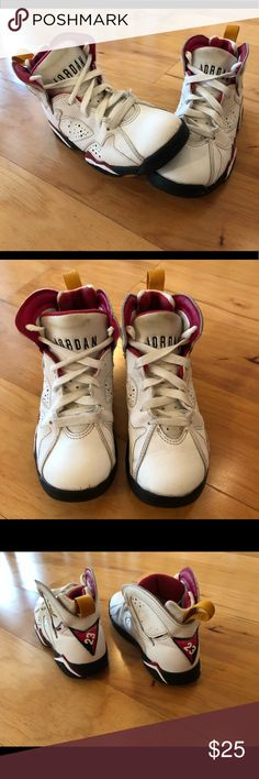 66331b23b9b0 Nike Air Jordan Retro 7 Toddler Size 11C White Red Nike Air Jordan Retro 7  Toddler