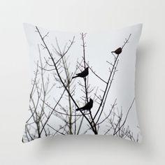 Resting Birds Throw Pillow by Rebekah Joan | Society6