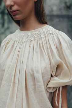 Crafted from soft ramie, Farrah Weydrims features an old-world hand smocked collar, inspired by the pieces we wore as children. Frill Dress, I Dress, 80s Fashion, Fashion 2020, Fashion History, Womens Fashion, House Dress, Linen Dresses, Facon