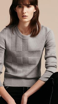 Check Knit Wool Blend Sweater Mid Grey Melange