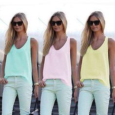 Fashion Women Summer Sleeveless Shirt Blouse Casual Tank Tops T-Shirt Vest Tops | eBay