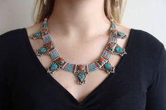 Tibetan turquoise necklace, ethnic Nepali necklace, Tribal necklace, Boho necklace,Gypsy jewelry, necklace turquoise, turquoise pendant