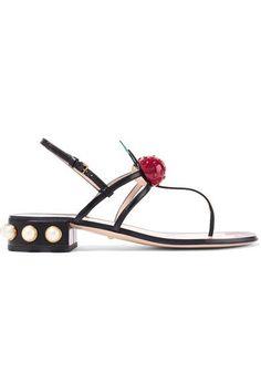 Gucci - Embellished Leather Sandals - Black - IT38.5