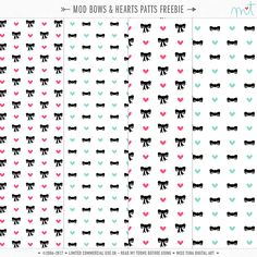 Mod Bows & Hearts patterns, in 2 sizes and perfect for Valentine's Day! Layered .PSD, .TIF, .PNG and .JPG formats included. FREE for limited commercial and or personal use… Enjoy! m…