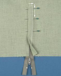 Sewing a zipper ~ Threads magazine Sewing Basics, Sewing Hacks, Sewing Tutorials, Sewing Crafts, Sewing Tips, Techniques Couture, Sewing Techniques, Zipper Tutorial, Tutorial Sewing
