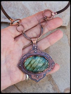 Rustic copper necklace with labradorite: Hand by AnniamAeDesigns