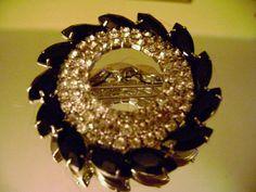 SALE 1930s1940s vintage black rhinestones by SkyAccessoryBoutique, $57.00