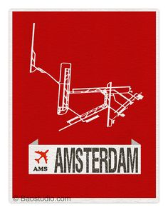 Fly me to Amsterdam AMS - World Traveler Series Amsterdam Netherlands Schiphol International Airport Code Runway Map Art Print Poster