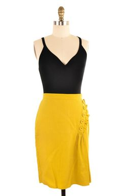 Burlapp Yellow Knee Length Skirt Size 4 | ClosetDash #skirts #fashion #style