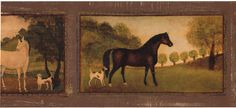 Horses Dogs Framed Frame Golden Brown Country Tuscany Tuscan Wall paper Border #IMPERIALWALLCOVERINGSINC