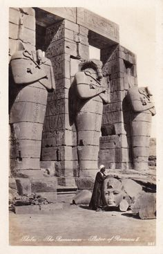 Old shot of the Ramasseum's spectacular statues