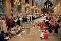 Children wait to greet Bishop Nick
