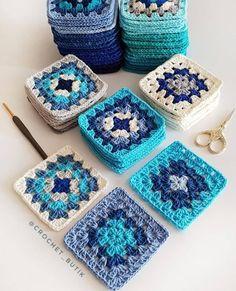 Crochet Square Blanket, Granny Square Crochet Pattern, Crochet Squares, Crochet Blanket Patterns, Crochet Motif, Crochet Designs, Knitting Patterns, Granny Squares, Crochet Bedspread