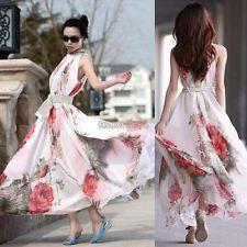 New Womens Ladies Chiffon Beach Maxi Dress Sleeveless Flouncing Long  Sundress VE