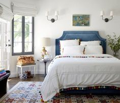 white walls, pops of color