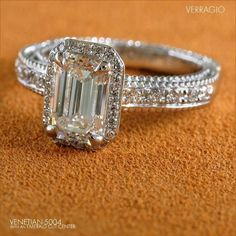 Veraggio Emerald Cut Diamond Engagement Ring I love this ring! Diamond Crown, Diamond Rings, Diamond Jewelry, Emerald Cut Diamond Engagement Ring, Emerald Cut Diamonds, Dream Ring, Diamond Are A Girls Best Friend, Jewelery, Jewelry Box