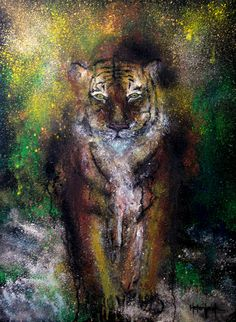 "Tiger By Helen Leigh  Abstract Expressionist-Drip Painting (style)  Materials:  Acrylic and Metallic Paint on Canvas  LARGE 90cm x 60cm x 3.5cm (24"" x 36"") - Exhibition Grade Canvas."