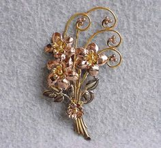 "Art Deco Flower Brooch Floral Spray Pin 12 K Rose Gold Filled Vermeil Over Sterling Vintage Costume Jewelry 4"" Tall by 2 3/8"" Wide"