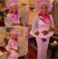 Pink gele necklace aso ebi Nigerian bride wedding inspiration