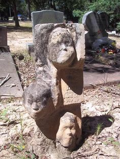 DEATH MASKS: Mt. Nebo Cemetery in Clarke County, Alabama is in the National Register of Historic Places due to the headstones that tend to stare right back at you. Isaac Nettles praised them as his Death Masks. He cast the faces of people before they died and stored them to create a unique grave marking upon the person's passing. While most have fallen victim to vandals, the greatest of his works, the triple headed memorial, still stands, molded from the faces his wife and daughters.