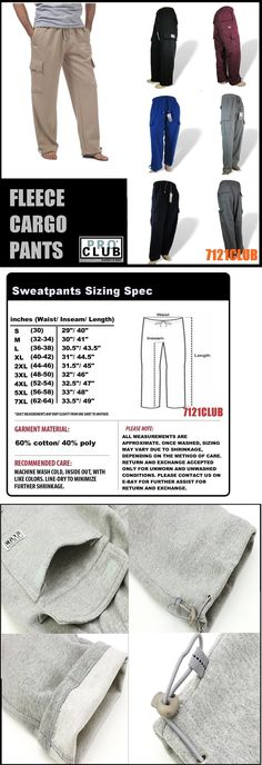 2f4d469d Mens Clothing 1059: Pro Club Cargo Pants Proclub Men S Heavyweight Fleece  Sweat Pants Big