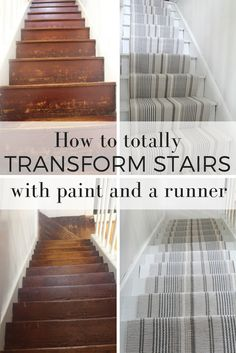 How to makeover stairs with paint and stair runner DIY tutorial