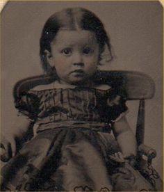 g498. Dated 1864 Civil War Tintype Photo Cure Little Girl w Gingham Dress Boston