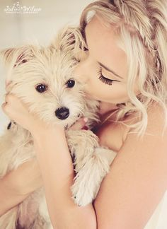 Bride and her Dog. So cute!