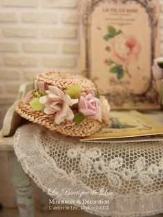 French retro, Shabby pink straw hat , Roses and Daisy, Fashion accessory for a miniature doll house in 1:12the scale