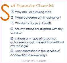 A new self-expression checklist for introverts who struggle with when or how to self-express. | provided by tamishaford.com