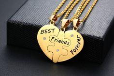 Best Friends Forever Heart Puzzle Necklaces (3 Pcs) - Gold