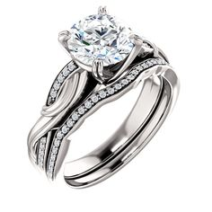 14kt White 7.4mm Round Engagement Ring Mounting | Stuller