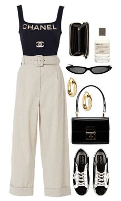 """Untitled #11682"" by nikka-phillips ❤ liked on Polyvore featuring Chanel, Dolce&Gabbana, Isa Arfen, Argento Vivo, Golden Goose, Le Labo and MANGO"