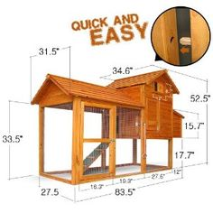 Quick  Easy DIY chicken coop: Pingkay 84*34*53 Deluxe Backyard Chicken Coop / Hen House / Rabbit Hutch w/ Run   by Olly Star