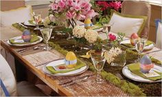 Garden Table Setting - Spring Table Settings and Centerpieces - Southern Living Brunch Table Setting, Easter Table Settings, Easter Table Decorations, Decoration Table, Easter Decor, Easter Buffet, Easter Centerpiece, Flower Centerpieces, Pinterest Easter Ideas