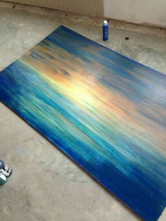 Starting a river scene Pour Painting, Diy Painting, Painting On Wood, Furniture Makeover, Diy Furniture, Unicorn Spit Stain, Diy Dining Room Table, Unicorn Painting, Painted Coffee Tables