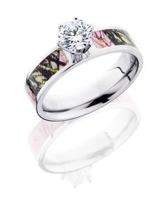 Pink Camo Wedding Rings Bands Are Popular Among Your American Women Who Looking For Something Different The Stone Or Diamond Is Real