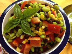 This flavorful salad packed with Edamame, Sweet Corn and Black Beans certainly fits the bill for a cool, summertime meal. It's a beautiful rainbow of colors in a bowl!