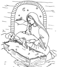 Child Jesus With Mother Mary Coloring Page Baby Jesus Coloring ...