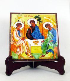 Holy Trinity - religious art - ceramic tile handmade in Italy - christian gift - Holy Trinity Icon - religious icon orthodox icon Holy art
