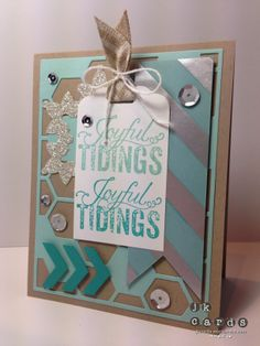 Stampin' Up!, Just Add Ink 196, Christmas Messages, Silver Foil Designer Vellum*, Silver Glimmer Paper, Hexagon Hive Thinlits Die*, Scallop Tag Topper Punch*, Chevron Border Punch, Natural 5/8 Chevron Ribbon*, Whisper White Bakers Twine, *2014 Occasions Catalog (January 3, 2014)