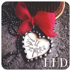 Love you More Glass Heart Soldered pendant – Heather Hansen Designs