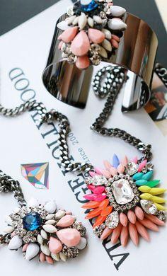 Rainbow colored gemstone crystal short necklace #AHAI #FASHION #WOMEN