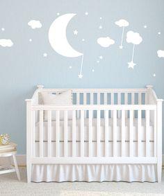 Take a look at this White Moon, Clouds & Stars Wall Decal by Sissy Little on #zulily today!